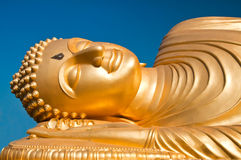 Reclining Buddha image, south of Thailand. The golden redining buddha image Royalty Free Stock Image