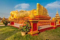 Reclining Buddha in Lao National Culture Hall. stock images