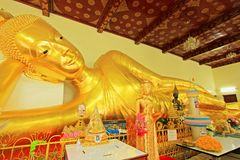 Reclining Buddha In Phra Pathom Chedi, Nakhon Pathom, Thailand. Located in Wat Phra Pathom Chedi or Phra Pathom Chedi Temple in Nakhon Pathom Province, this is stock photography