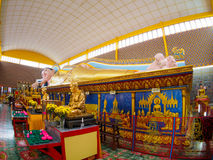 Reclining Buddha at public temple Wat Chaiyamangalaram. Generality in Thailand, any kind of art decorated in Buddhist church, temple pavilion, temple hall, monk' Royalty Free Stock Photos