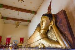 Reclining buddha statue. At Wat Pa Pradu,Rayong province Thailand Stock Photos