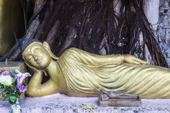 Reclining buddha statue. Big and small reclining buddha statue in front of the tree Stock Photography