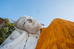 Reclining Buddha statue face Royalty Free Stock Photography