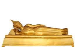 Reclining Buddha statue isolated on white background. Stock Photos