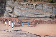 Reclining Buddha statue at Polonnaruwa Royalty Free Stock Photography