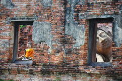 Reclining Buddha statue of Wat Puttaisawan in Ayutthaya, Thailand Stock Image