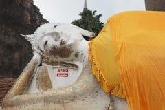Reclining Buddha statue. At Wat Yai Chai Mongkon, a buddhist temple in Ayutthaya, Thailand Stock Photos