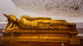 Reclining of buddha. Reclining buddha in temple Royalty Free Stock Image