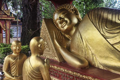 Reclining Buddha. In temple Wat Krom. Sihanoukville. Cambodia Stock Image