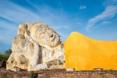 Reclining Buddha of Wat Lokaya Sutha in Ayutthaya, Thailand Royalty Free Stock Images