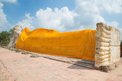 Reclining Buddha of Wat Lokayasutha in Ayutthaya, Thailand. Stock Photography