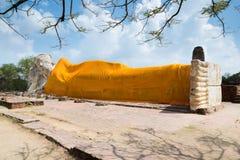 Reclining Buddha of Wat Lokayasutha in Ayutthaya, Thailand. Stock Photo