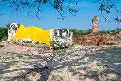 Reclining Buddha Wat Lokayasutharam Ayuthaya Royalty Free Stock Image