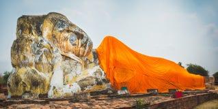 Reclining Buddha in Wat Lokayasutharam Royalty Free Stock Photos