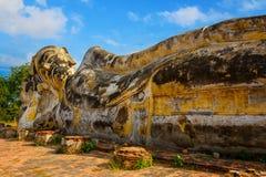 Reclining Buddha at Wat Lokayasutharam Temple in Ayuthaya Historical Park in Thailand Royalty Free Stock Images