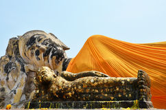 Reclining Buddha of Wat Lokayasutharam Temple in Ayutthaya Thailand Royalty Free Stock Photo