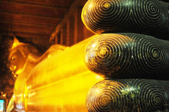 Reclining Buddha at Wat Pho. Leg fingers of Reclining Buddha at Wat Pho, Bangkok, Thailand stock photos