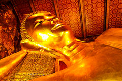Reclining buddha within the Wat Pho Royalty Free Stock Images