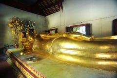 Reclining Buddha at Wat Phra Singh. CHIANG MAI, THAILAND - Wat Phra Singh is a famous Buddhist temple in Chiang Mai, Northern Thailand. The reclining Buddha royalty free stock photography