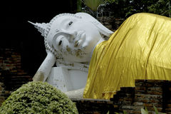 Reclining Buddha in Wat Yai Chai Mong klon. Stock Photo