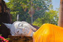 Reclining Buddha at Wat Yai Chai Mongkhon Old Temple Royalty Free Stock Images