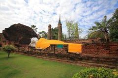 Reclining Buddha at wat Yai Chai Mongkol Royalty Free Stock Photo