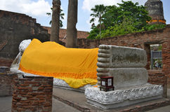 Reclining Buddha at Wat Yai Chai Mongkol in Ayutthaya. Thailand royalty free stock photo