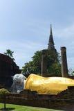 The reclining Buddha. Of Wat Yai Chai Mongkon Royalty Free Stock Image