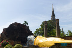 The reclining Buddha. Of Wat Yai Chai Mongkon Stock Photography