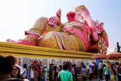 Reclining elephant head god at Wat Samarn Rattanaram Stock Images