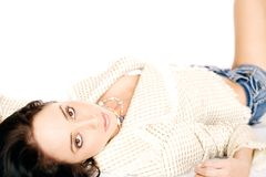 Reclining fashion model royalty free stock photo