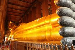 Reclining golden Buddha Royalty Free Stock Photo
