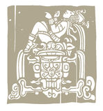 Reclining Mayan Woodblock Royalty Free Stock Image