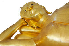 Reclining sleeping golden Buddha statue at temple in Thaialnd. Isolated on a white background Stock Image