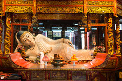 Reclining statue in the The Jade Buddha Temple shanghai china. Reclining statue in the The Jade Buddha Temple in shanghai china stock photography