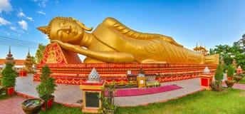 Reclning Buddha. Vientiane, Laos. Panorama Royalty Free Stock Image