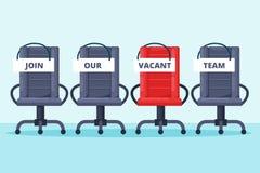 Reclutamiento, concepto de alquiler Las sillas grises y rojas de la oficina con se unen a nuestras palabras del equipo Ejemplo pl stock de ilustración