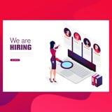 Reclutamiento, concepto isométrico de la búsqueda de trabajo Uso para la presentación, medio social, tarjetas, bandera de la web stock de ilustración