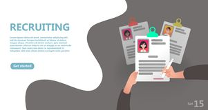 Reclutamiento en línea y concepto de alquiler del trabajo libre illustration