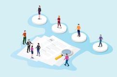 Reclutamiento o concepto de proceso de reclutamiento con el candidato selecto de la gente del equipo con el documento de papel de stock de ilustración