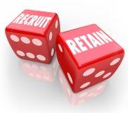 Reclute y conserve 2 dados rojos atraen a Job Candidate Hire Reward ilustración del vector
