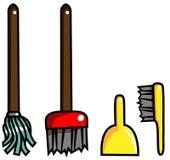 Recogedor de polvo de la fregona del cepillo de la escoba del equipo de la limpieza ilustración del vector
