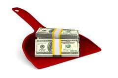 Recogedor de polvo rojo con el dinero en el fondo blanco Illustra aislado 3d Fotografía de archivo libre de regalías