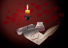 Recognition. Declaration of love written in the light of candles Royalty Free Stock Photography
