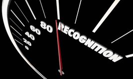 Recognition Appreciation Recognized Speedometer. 3d Illustration Stock Images
