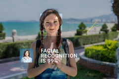 Recognition of female face. Biometric verification and identification Stock Photos