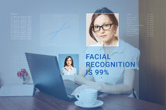 Recognition of female face. Biometric verification and identification. Recognition of a female face by layering a mesh and the calculation of the personal data royalty free stock photos