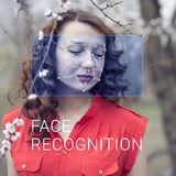 Recognition of female face. Biometric verification and identification Royalty Free Stock Photos