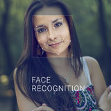 Recognition of female face. Biometric verification and identification Royalty Free Stock Photography