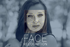 Recognition of female face. Biometric verification and identification Stock Photo